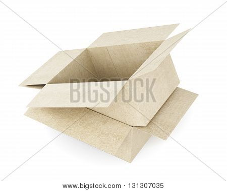 Box on box isolated on white background. Cardboard boxes. 3d rendering.