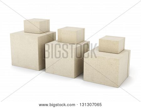 Group of cardboard boxes isolated on white background. Square boxes on each other. Different size. 3d rendering