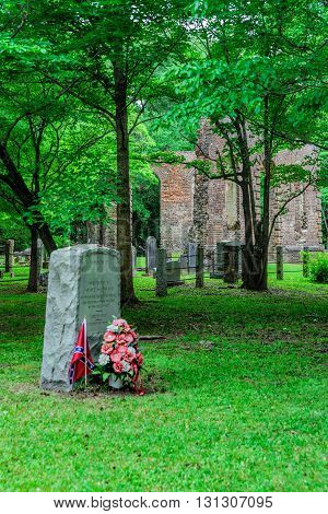 A tale of two wars, Revolutionary and Civil War, are pictured at the cemetery and ruins of Biggin Church in Berkeley county South Carolina.