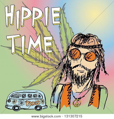 Hippie time background .Hippie van marijuana leaf. Vector illustration