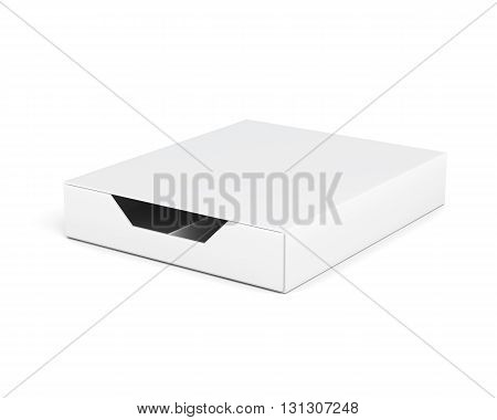 Closed and empty box isolated on white background. Laminated cardboard. Plastic box. With compartments. 3d rendering