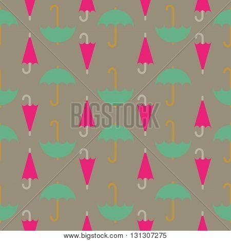 Retro seamless pattern of umbrella; editable color background.