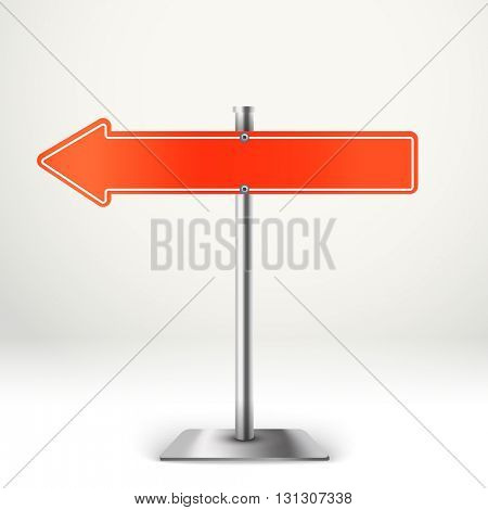 Blank metal red arrow board. Template for a text. Direction to the left