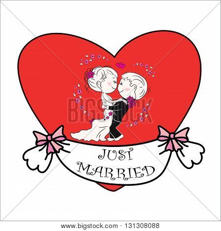 couple in love against the backdrop of a red heart just married vector illustration