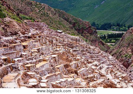 View of Salt ponds in Maras Cuzco Peru