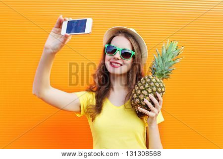 Fashion Pretty Cool Girl In Sunglasses, Hat With Pineapple Takin