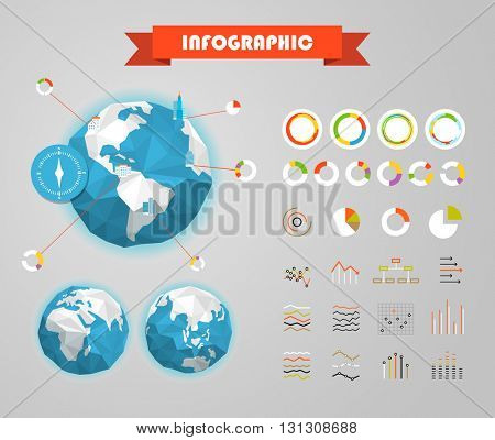Infographic elements template. Statistic charts ratings vector clip-art