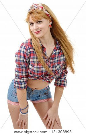 beautiful girl with a plaid shirt and short vintageisolated on white background
