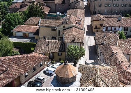 Barbaresco,Italy,Europe - May 3, 2016 : View from above of the old houses in Barbaresco