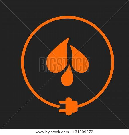 Water drops in a circle with plug as symbol of eco-friendly energy source. Orange sign on black background