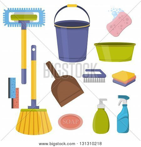 Vector set of cleaning tools. Flat design cleaning tools. Household supplies and cleaning tools icons set. Cleaning tools housework equipment and cleaning tools service detergent home hygiene.