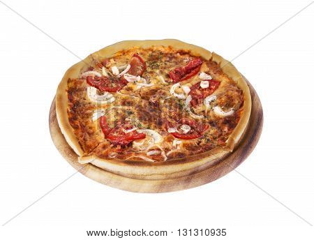 Tasty Italian pizza over white on a white background