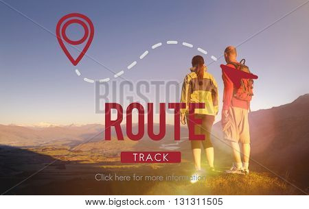 Route Navigate Location Planning Transportation Concept