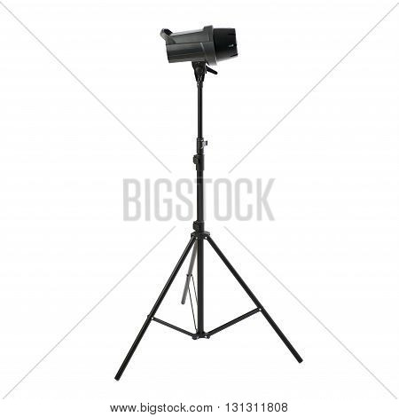 Closed studio flash on a stand over isolated white background