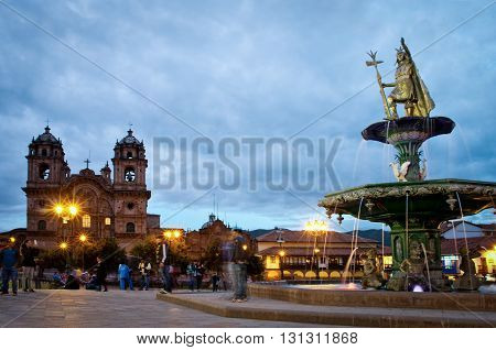 CUSCO PERU-MARCH 08 2015: Inca fountain in the Plaza de Armas of Cusco Peru