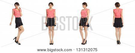 Full Length Portrait Of Beautiful Teen In Skirt