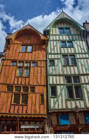 half-timbered tenement houses in Troyes in France