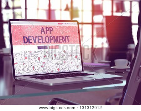 App Development Concept Closeup on Landing Page of Laptop Screen in Modern Office Workplace. Toned Image with Selective Focus. 3D Render.