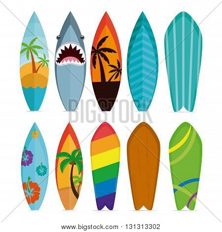 Set of different surfboards on a white background