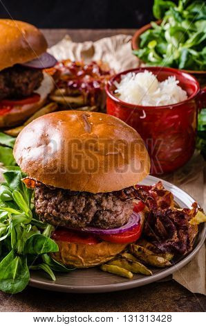 Beef Burger With Bacon And French Fries