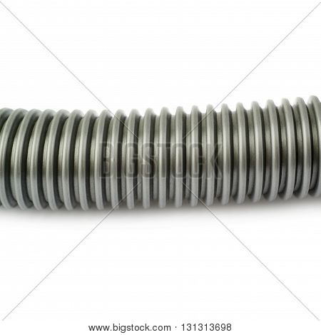 Part of gray Hand held small vacuum cleaner hose isolated over the white background