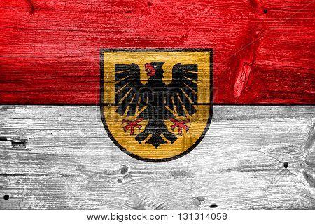 Flag Of Dortmund, Painted On Old Wood Plank Background
