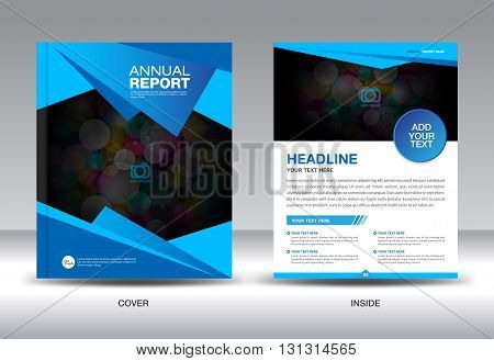 Blue Annual report template Cover design Brochure flyer magazine layout newsletter