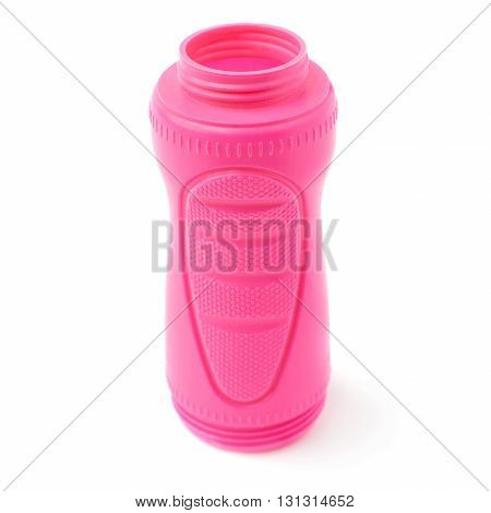 Water sport plastic pink bottle isolated over the white background