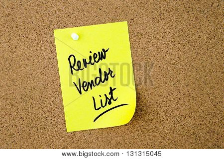 Review Vendor List Written On Yellow Paper Note