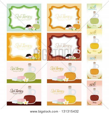 Set of different spa cards on a white backgrounds