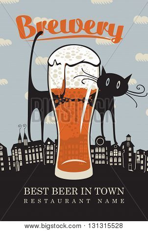 banner for the brewery with a cat on the roofs of the old town and a glass of beer
