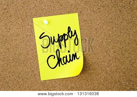 Supply Chain Written On Yellow Paper Note