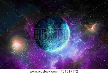 Blue planet on space background star, blue,