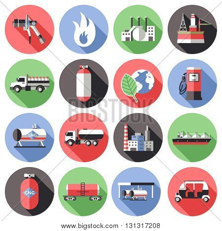 Natural gas long shadow icons set with storage transportation manufactuting pump cylinder truck flame isolated vector illustration