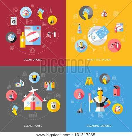 Home cleaning concept with choice of tools washing dishes shiny house professional service isolated vector illustration