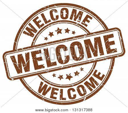 Welcome Brown Grunge Round Vintage Rubber Stamp.welcome Stamp.welcome Round Stamp.welcome Grunge Sta
