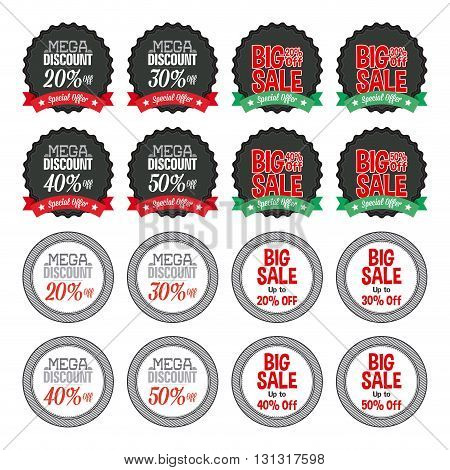 Set of labels with text for sales purposes on a white background