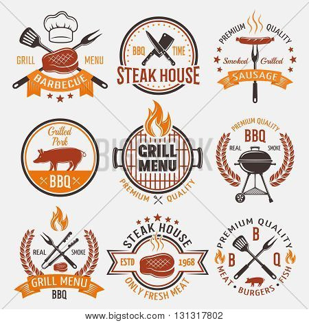 BBQ retro style emblems with fire cooking tools fresh roasted meat pig stars isolated vector illustration