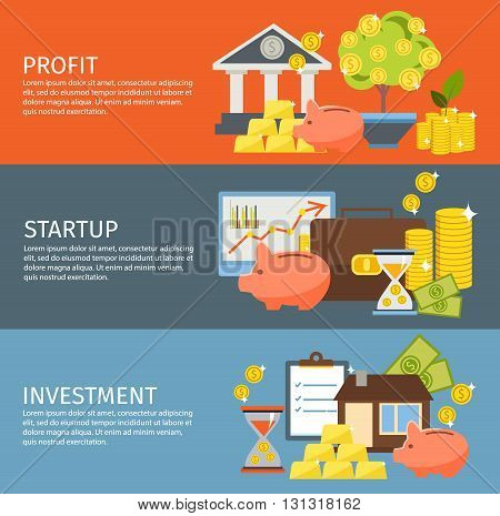 Three colored horizontal investment banner set with description of profit startup and investment vector illustration