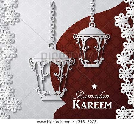 Arabic illustration of Ramadan Kareem on white and red paper with Silhouette of mosque and paper lights