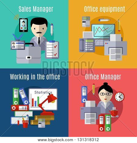Office flat Icon set with descriptions of sales manager office equipment working in the office and office manager vector illustration