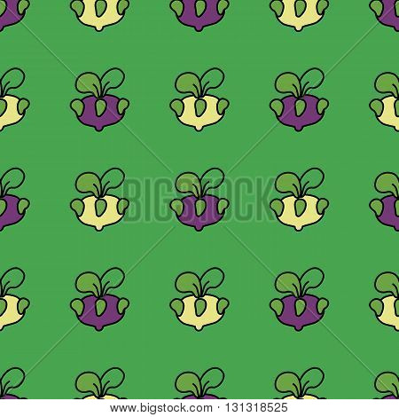 Seamless pattern purple kohlrabi cabbage on a green background.