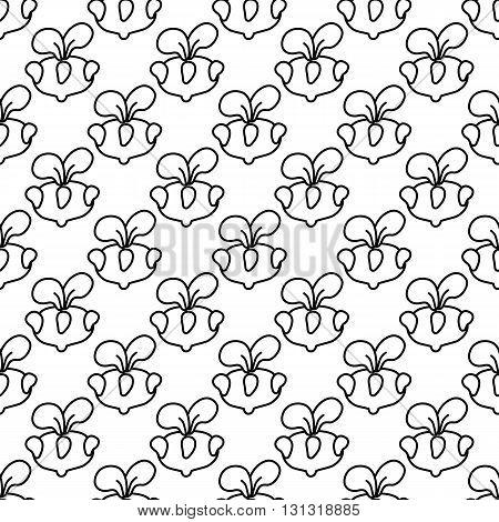 Seamless pattern kohlrabi cabbage contour on a white background.