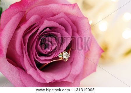 wedding gold ring with diamond and rose flowers