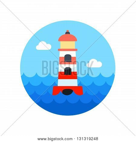 Lighthouse vector icon. Beach. Summer. Summertime. Vacation eps 10