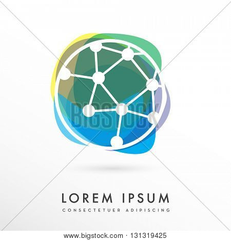 VECTOR LOGO / ICON OF A DIGITAL CIRCUIT IN A CIRCLE , WITH ABSTRACT COLORFUL SHAPES ON THE BACKGROUND , UNIQUE, MODERN DESIGN