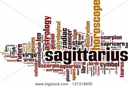 Sagittarius word cloud concept. Vector illustration on white