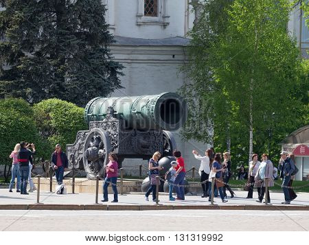 Moscow - May 7 2016: Many tourists are photographed near the Tsar Cannon at the Kremlin territrii May 7 2016 Moscow Russia