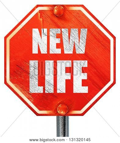new life, 3D rendering, a red stop sign