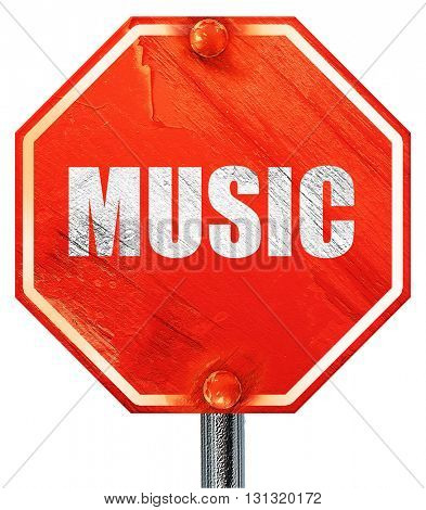 music, 3D rendering, a red stop sign